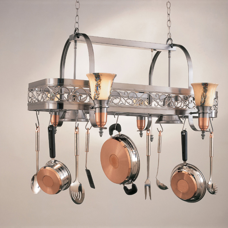 kitchen island pot rack lighting hi lite manufacturing h 10y d 14 wht ody satin steel satin 24781