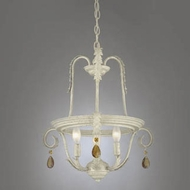 Hi-Lite Manufacturing H-2987-D-66 Brentwood Navajo White Finish 17  Wide Mini Chandelier Light