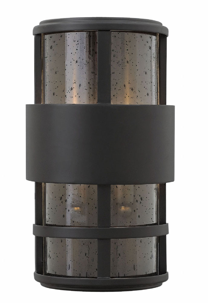 Black Exterior Wall Sconces : Hinkley 1908SK Saturn Contemporary Satin Black Exterior Wall Sconce Lighting - HIN-1908SK
