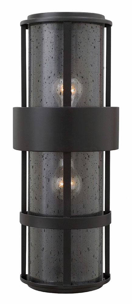Hinkley 1909sk saturn modern satin black outdoor wall light fixture hin 1909sk for Contemporary exterior wall lights