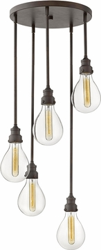 Hinkley 3265IN Denton Modern Industrial Iron Multi Pendant Lighting