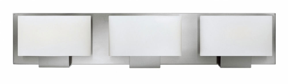 Modern Bathroom Lighting Brushed Nickel hinkley 53553bn mila modern brushed nickel halogen 3-light