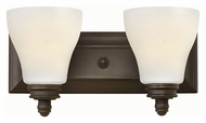 Hinkley 53582OZ Claire Oil Rubbed Bronze Finish 14 Wide 2 Light Bathroom Wall Sconce