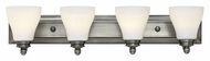 Hinkley 53584AN Claire 4 Lamp Antique Nickel Transitional Vanity Lighting For Bathroom