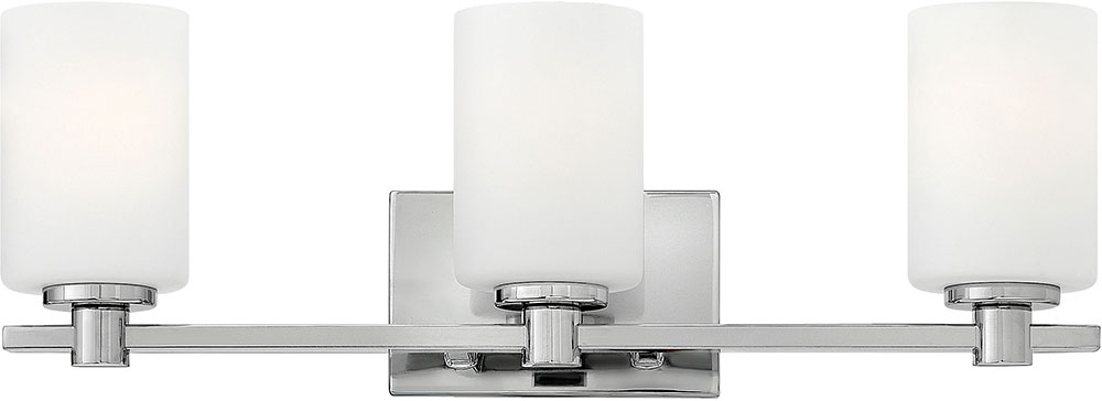Bathroom Lighting Sconces Chrome hinkley 54623cm karlie chrome 3-light bath lighting sconce - hin