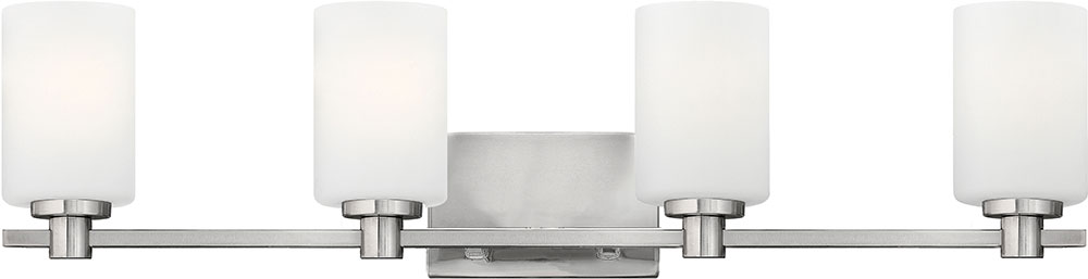 Bathroom Lighting Fixtures Brushed Nickel hinkley 54624bn karlie brushed nickel 4-light bathroom wall light