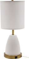 House of Troy RU751-WT Rupert White with Weathered Brass Accents Table Top Lamp