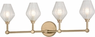 Hudson Valley 1324-AGB Orin Modern Aged Brass LED 4-Light Bathroom Sconce
