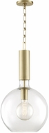 Hudson Valley 1413-AGB Raleigh Modern Aged Brass Hanging Pendant Light