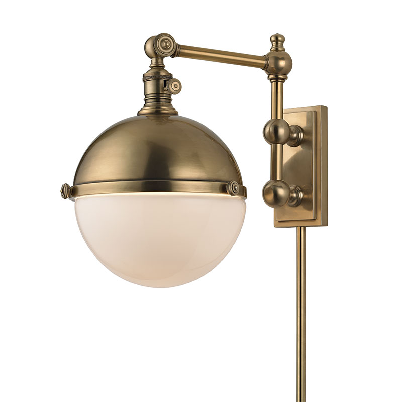 Hudson Valley 1671-AGB Stanley Vintage Aged Brass Wall Swing Arm Lamp - HUD-1671-AGB