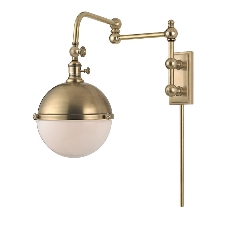 Wall Lamps Brass : Hudson Valley 1672-AGB Stanley Vintage Aged Brass Wall Swing Arm Lamp - HUD-1672-AGB
