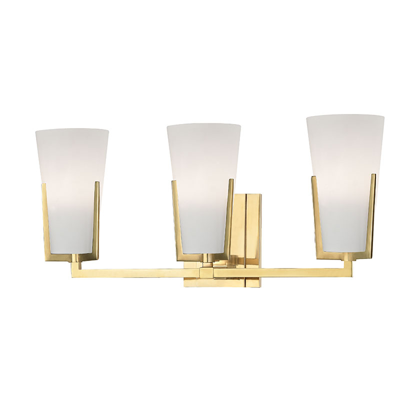 Hudson Valley 1803-AGB Upton Aged Brass Xenon 3-Light Bathroom ...