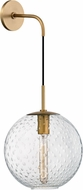 Hudson Valley 2030-AGB-CL Rousseau Modern Aged Brass 20 Wall Light Sconce