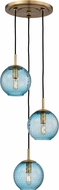 Hudson Valley 2033-AGB-BL Rousseau Modern Aged Brass Multi Pendant Lighting