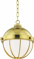 Hudson Valley 2312-MB Sumner Contemporary Modern Brass Mini Hanging Pendant Light