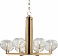 Hudson Valley 2418-AGB Breton Contemporary Aged Brass LED Chandelier Light