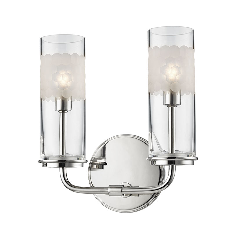Transitional Bathroom Wall Sconces hudson valley 3902-pn wentworth polished nickel xenon 2-light bath