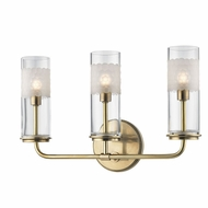 Hudson Valley 3903-AGB Wentworth Aged Brass Xenon 3-Light Bathroom Light Sconce