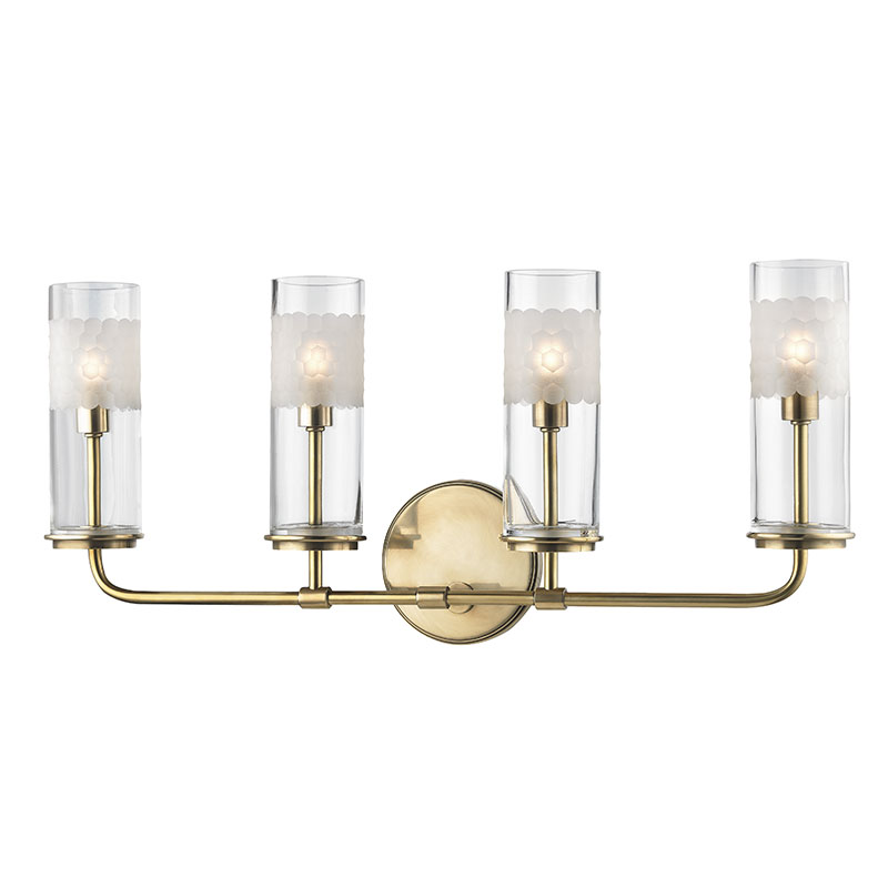 Hudson valley 3904 agb wentworth aged brass xenon 4 light for Brass bathroom sconce