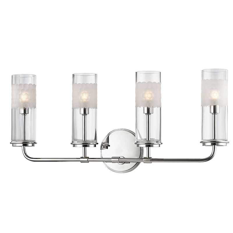 Bath Lighting Sconces hudson valley 3904-pn wentworth polished nickel xenon 4-light bath
