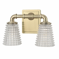 Hudson Valley 6222-AGB Westbrook Contemporary Aged Brass Xenon 2-Light Bathroom Wall Light Fixture