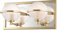 Hudson Valley 6442-AGB Axiom Contemporary Aged Brass LED 2-Light Bath Wall Sconce