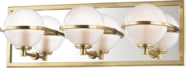 Bathroom Lighting Fixtures Brass hudson valley 6443-agb axiom contemporary aged brass led 3-light