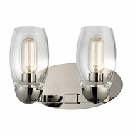 Hudson Valley 8842-PN Pamelia Polished Nickel Finish 12  Wide 2-Light Bathroom Wall Light Fixture