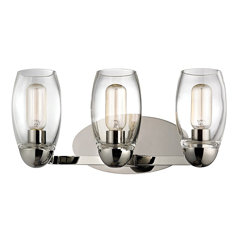 "Bathroom Vanity Lights Polished Nickel hudson valley 8843-pn pamelia polished nickel finish 19.5"" wide 3"