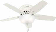 Hunter 51080 Newsome Low Profile Fresh White / Light Oak Fluorescent 42  Ceiling Fan