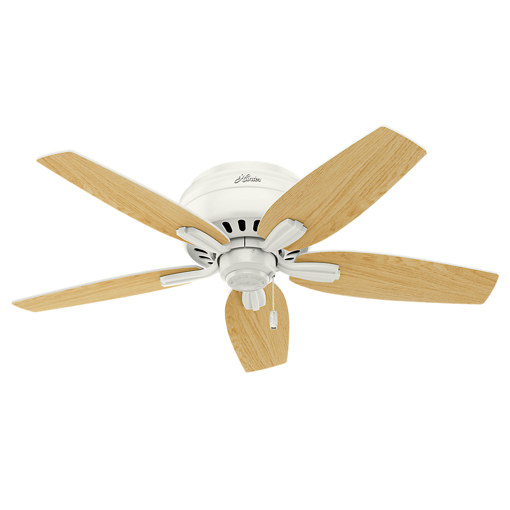 Oak Ceiling Fans With Lights : Hunter newsome low profile fresh white light oak