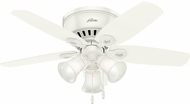 Hunter 51090 Builder Low Profile Snow White / Light Oak 42  Ceiling Fan