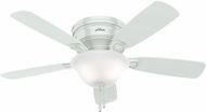 Hunter 52062 Low Profile White / Light Oak Fluorescent 48  Ceiling Fan
