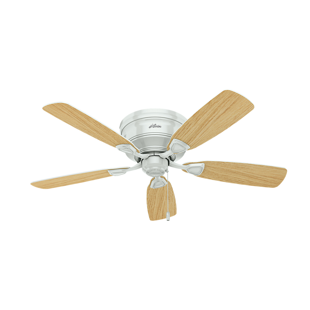 Oak Ceiling Fans With Lights : Hunter low profile white light oak fluorescent