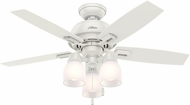 Hunter 52229 Donegan Three Light Fresh White / Light Grey Oak LED 44  Ceiling Fan