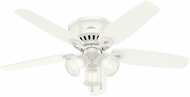 Hunter 53326 Builder Low Profile Snow White / Light Oak 52  Indoor Ceiling Fan