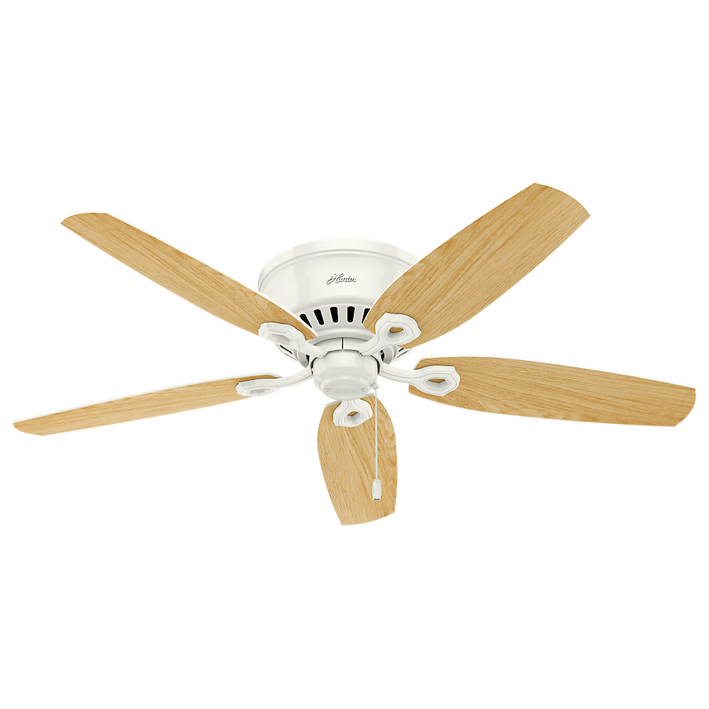 Oak Ceiling Fans With Lights : Hunter builder low profile snow white light oak