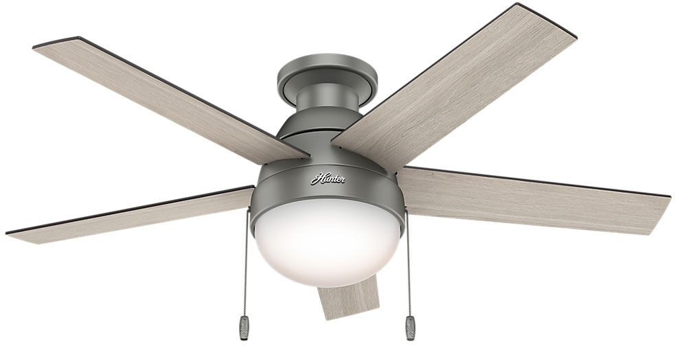 Oak Ceiling Fans With Lights : Hunter anslee low profile light grey oak