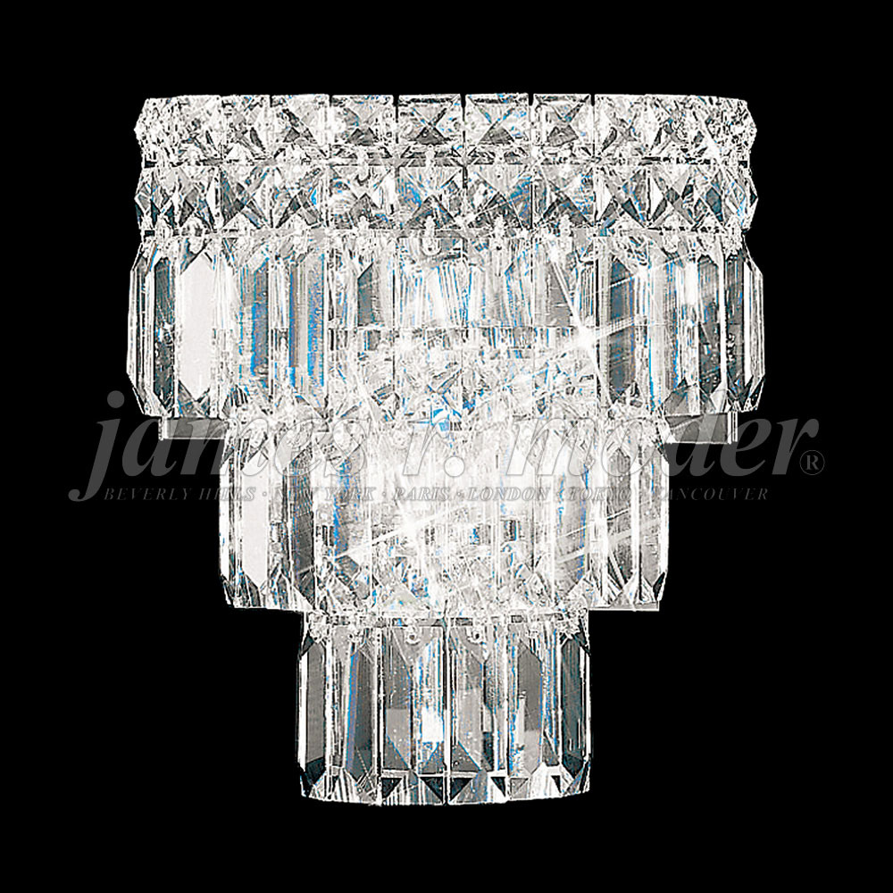 Silver Crystal Wall Sconces : James Moder 92521S22 Prestige Crystal Silver Wall Light Sconce - JAM-92521S22