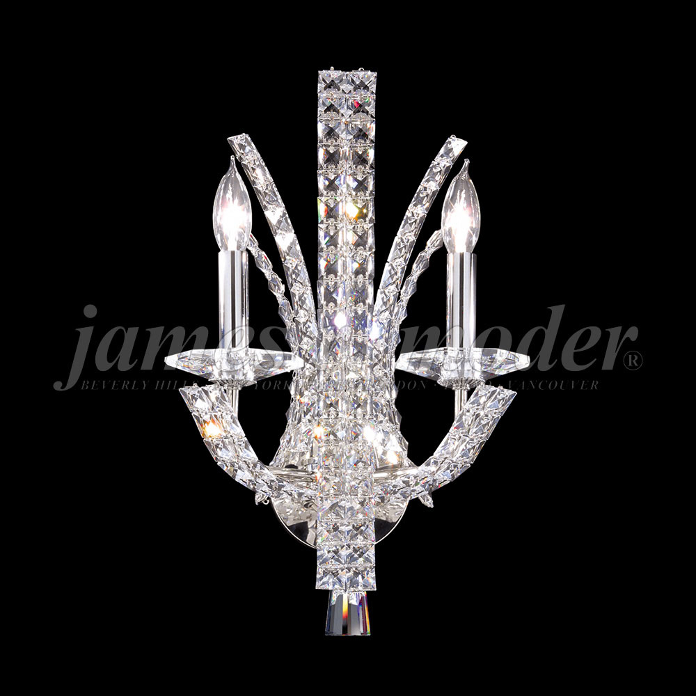 Silver Crystal Wall Sconces : James Moder 95632S22 Eclipse Fashion Crystal Silver Wall Light Sconce - JAM-95632S22