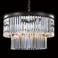 James Moder 96336SB22 Europa Crystal Satin Black Lighting Pendant