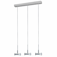 Jesco PD302-3 Discus Contemporary Satin Nickel Finish 4.75  Wide Halogen 3 Light Kitchen Island Lighting