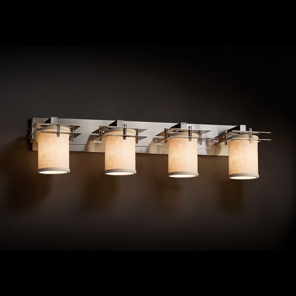 Justice design fab 8174 metropolis textile 4 light for Bathroom 5 light fixtures