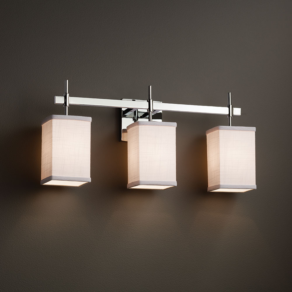 Justice Design Fab 8413 Union Textile 3 Light Bathroom Light Fixture Jus Fab 8413
