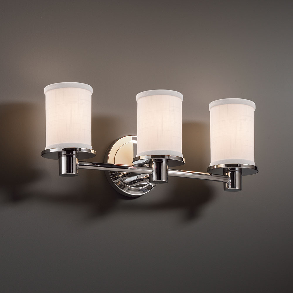 Justice Design FAB 8513 Rondo Textile 3 Light Bathroom Sconce Lighting.  Loading Zoom