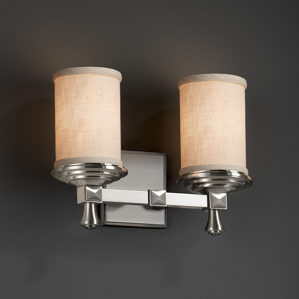 Justice Design FAB 8532 Deco Textile 2 Light Bathroom Wall Light Fixture.  Loading Zoom