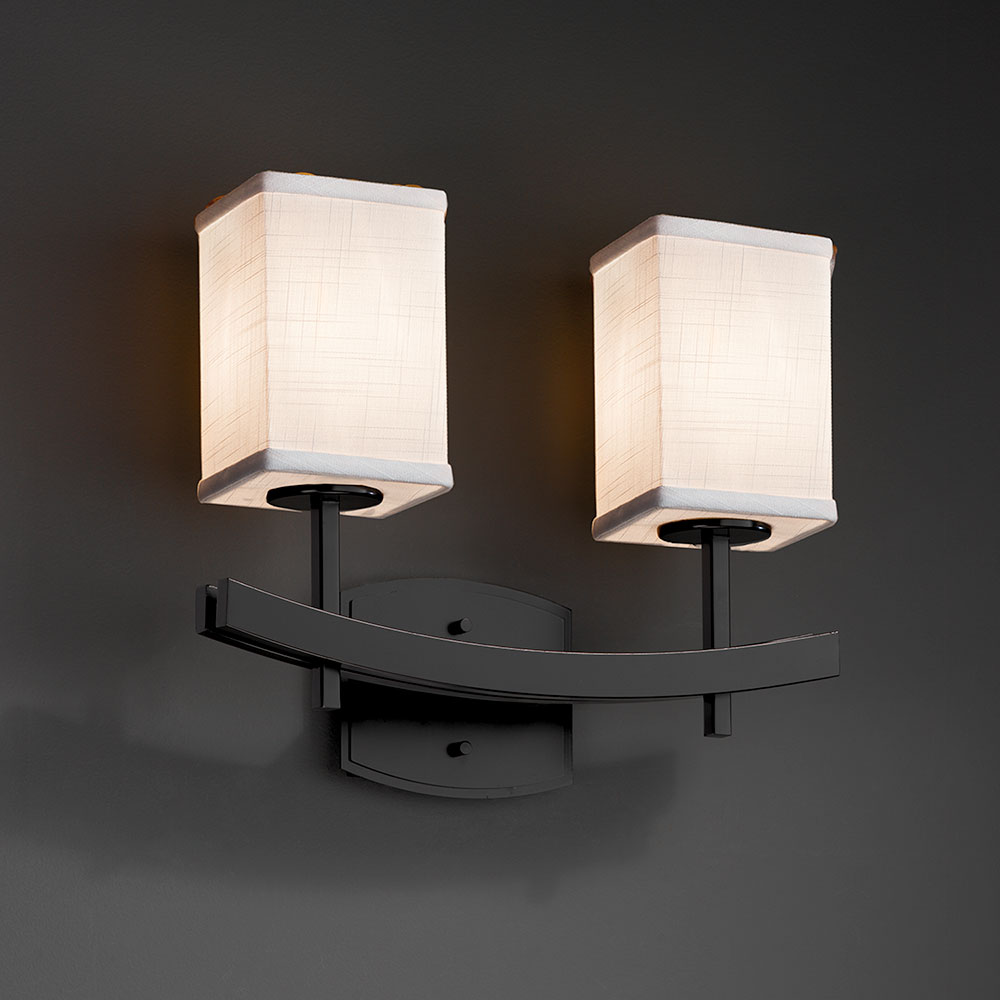 Justice Design Fab 8592 Archway Textile 2 Light Bathroom Vanity Light Jus Fab 8592