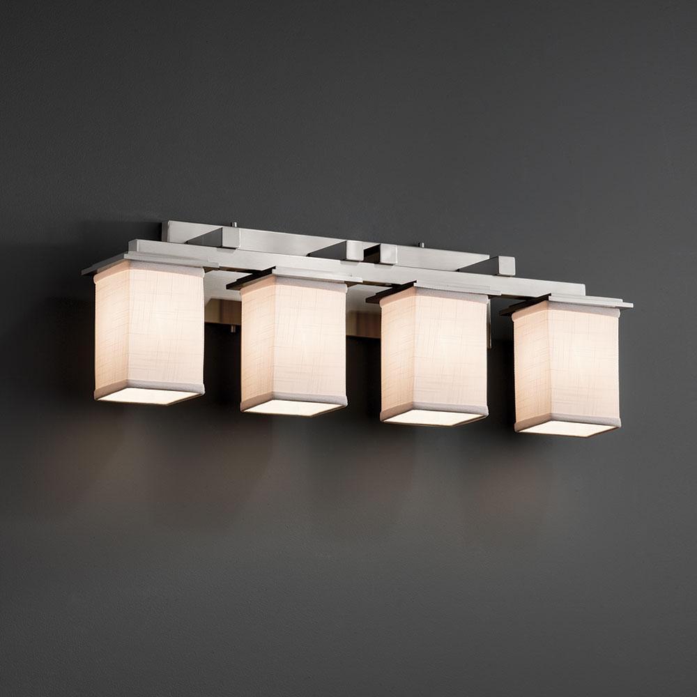 Justice design fab 8674 montana textile 4 light bathroom for 4 light bathroom fixture