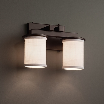 Justice Design Fab 8772 Dakota Textile 2 Light Bathroom Lighting Sconce Jus Fab 8772