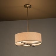 Justice Design FAB-9521 Crossbar Textile Drum Ceiling Light Pendant